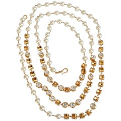 Solaris Crystal and Pearl Long Necklace