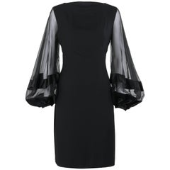LILLI DIAMOND c.1970's Black Wool Sheer Silk Bishop Sleeve Shift Cocktail Dress