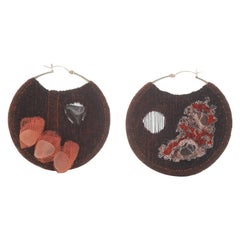 Large Burgundy Mismatched Trampoline Earrings