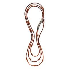 Long Split Lava Cocoon Necklace with 3 Orange Cords