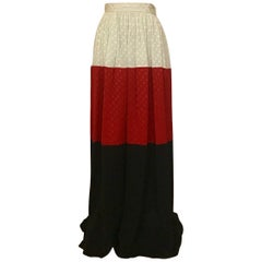 Michaele Vollbracht Red Black White Silk Color Block Polka dot Maxi Skirt, 1980s