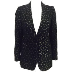 Delightful Dries van Noten Structured Jacket w/Geometric Black and Grey Print