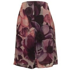 Gianni Versace Couture 1990s Purple Floral Print Silk Chiffon Skirt