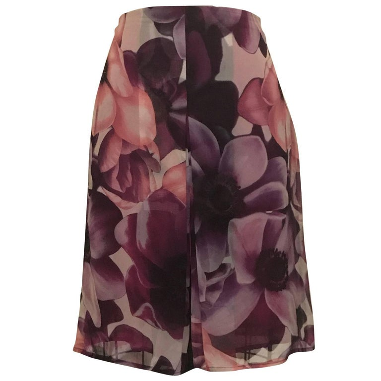 Gianni Versace Couture 1990s Purple Floral Print Silk Chiffon Skirt  1