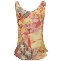 Alexander McQueen 2003 Abstract Print Multicolor Draped Tank Top