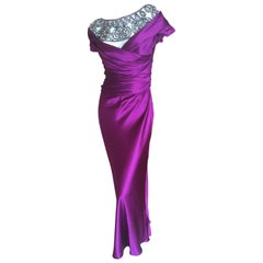 Moschino Violett Evening Dress with Extravagant Jeweled Collar