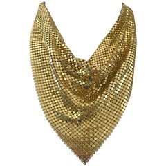 1970s Whiting & Davis Gold Metal Chain Mail Mesh Collar Vintage 70s Bib Necklace