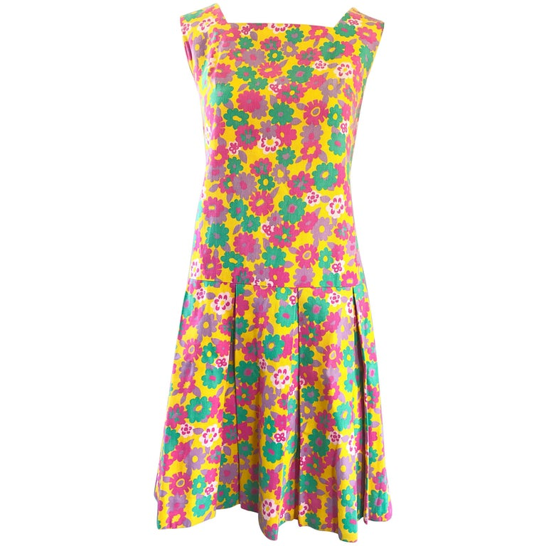 1960s Yellow + Pink + Green Flower Power Cotton Vintage 60s Scooter Dress Twiggy