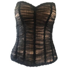 Rene Ruiz Couture Black and Nude Strapless Silk Net Overlay Bustier Corset Top