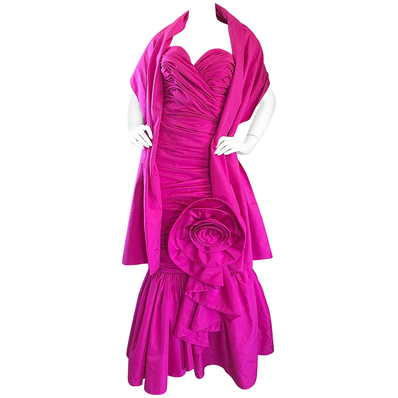 1980s Lilli Diamond Fuchsia Hot Pink Strapless Avant Garde Gown and Sash Stole