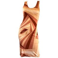 1990s Gianni Versace Versus Warm Tone Three Dimensional Geometric Bodycon Dress