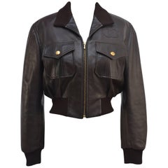 CHANEL Brown CC Leather Jacket  MINT
