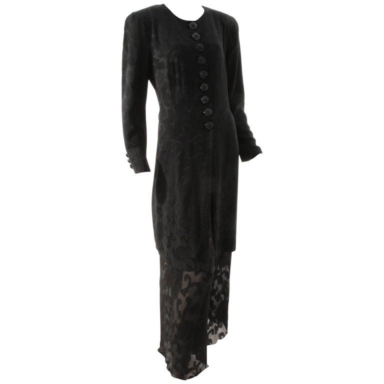Rare Donna Karan Long Jacket & Sheer Pants Set 2pc Black Silk Brocade Leone 10/M For Sale