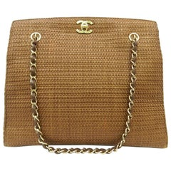 Chanel Brown Bamboo Gold Chain Shoulder Bag