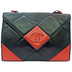 Chanel Red and Navy Quilted Lambskin with Triangle Flap Shoulder Bag