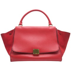 Celine Trapeze Red Calfskin Leather Suede Leather Satchel Bag