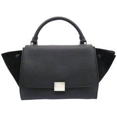 Celine Trapeze Black Calfskin Leather Satchel Bag