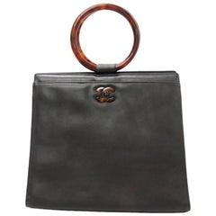 Chanel Black Lambskin Leather Tortoiseshell Handle Handbag