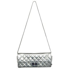 Chanel Silver Metallic Quilted Calf Skin Leather Flap Reissue Shoulder Bag