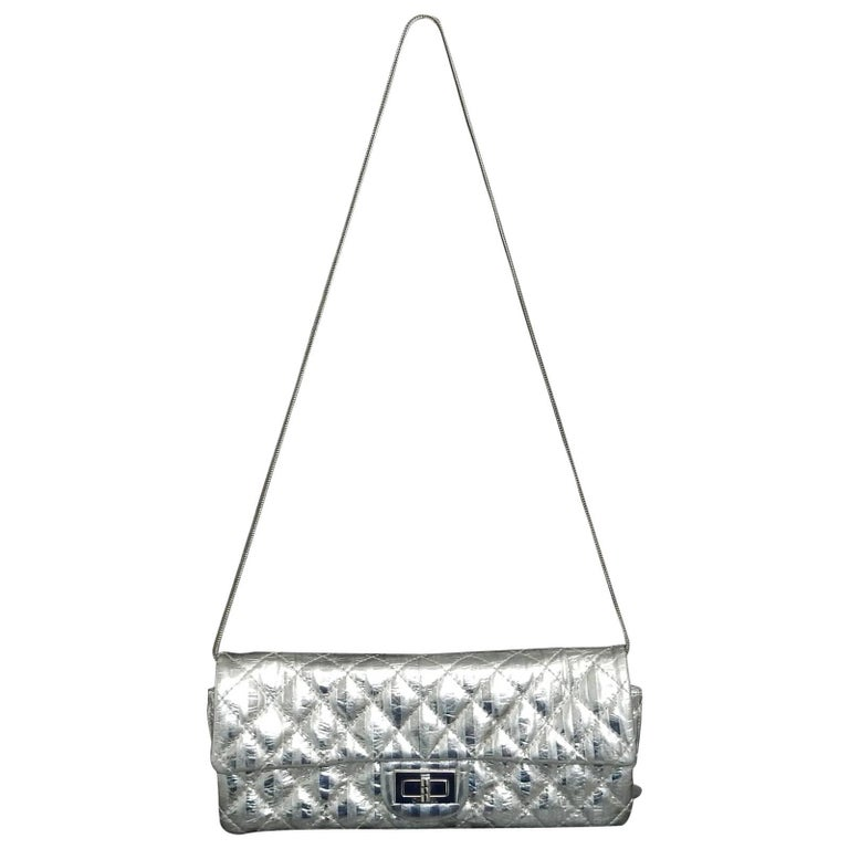 Chanel Silver Metallic Quilted Calf Skin Leather Flap Reissue Shoulder Bag For Sale