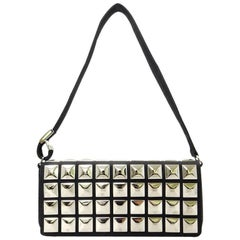 Chanel Black Canvas with Silver Metal Studs Flap Shoulder Handbag