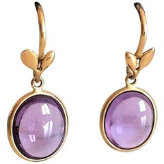 Tiffany Olive Leaf Earrings by Paloma Picasso, 18kt Gold & Amethist