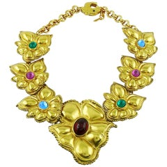 Jean Louis Scherrer Vintage 1980s Statement Floral Necklace