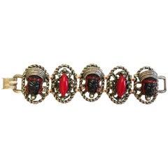 Vintage Blackamoor Asian Princess Bracelet - Red Bead Pearls