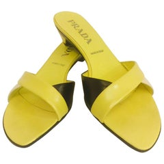 Prada Chartreuse Yellow Color Blocked Slide Sandals With Architectural Heels