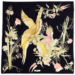 Salvatore Ferragamo Black Silk Twill Scarf Featuring Exotic Birds and Flowers
