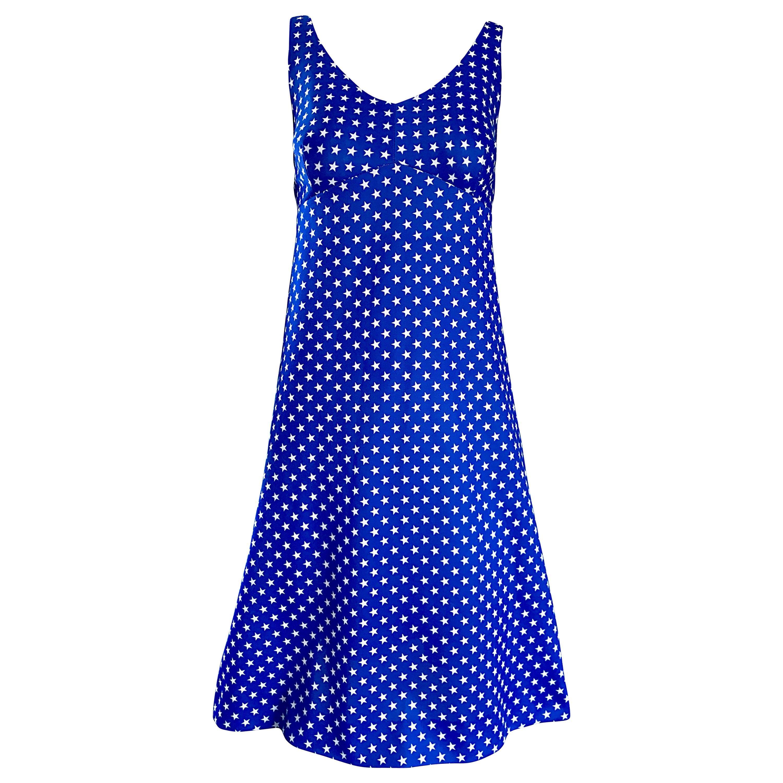 1960s Royal Blue and White Star Print A - Line Novelty Vintage 60s Dress