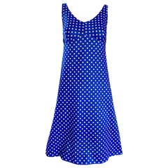 1960s Royal Blue and White Star Print A - Line Novelty Vintage 60s Dress