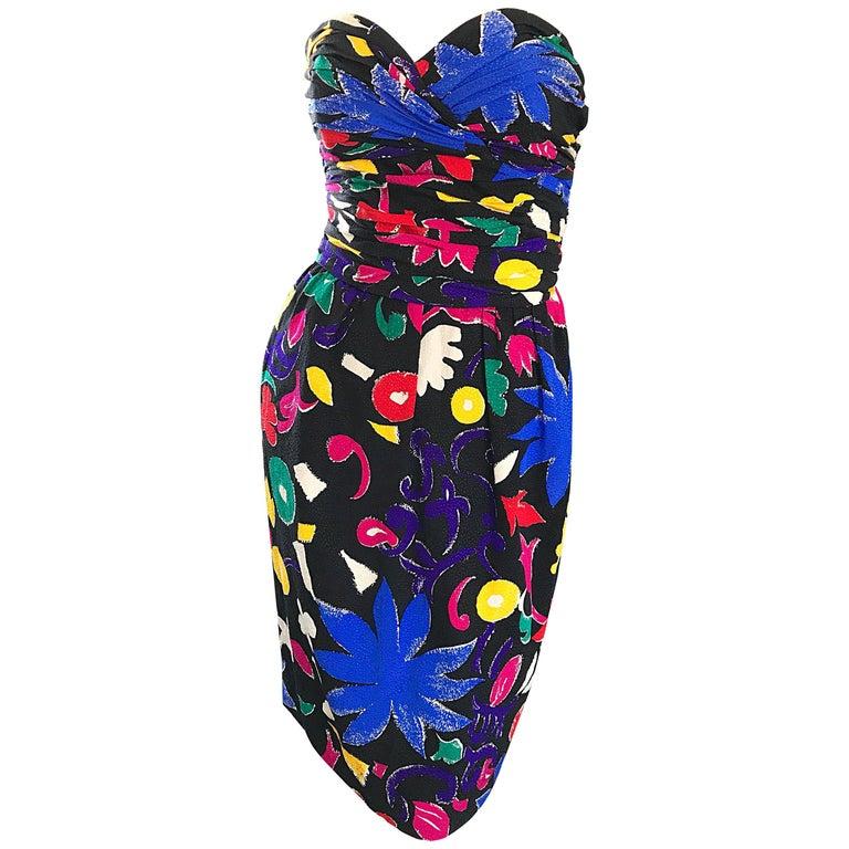 Bill Blass Colorful Flower Print Strapless Sexy Black Vintage Dress, 1980s