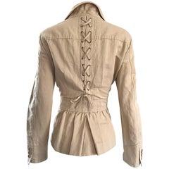 Vintage Moschino Cheap & Chic Khaki Safari Style Size 44 Cotton Linen 90s Jacket