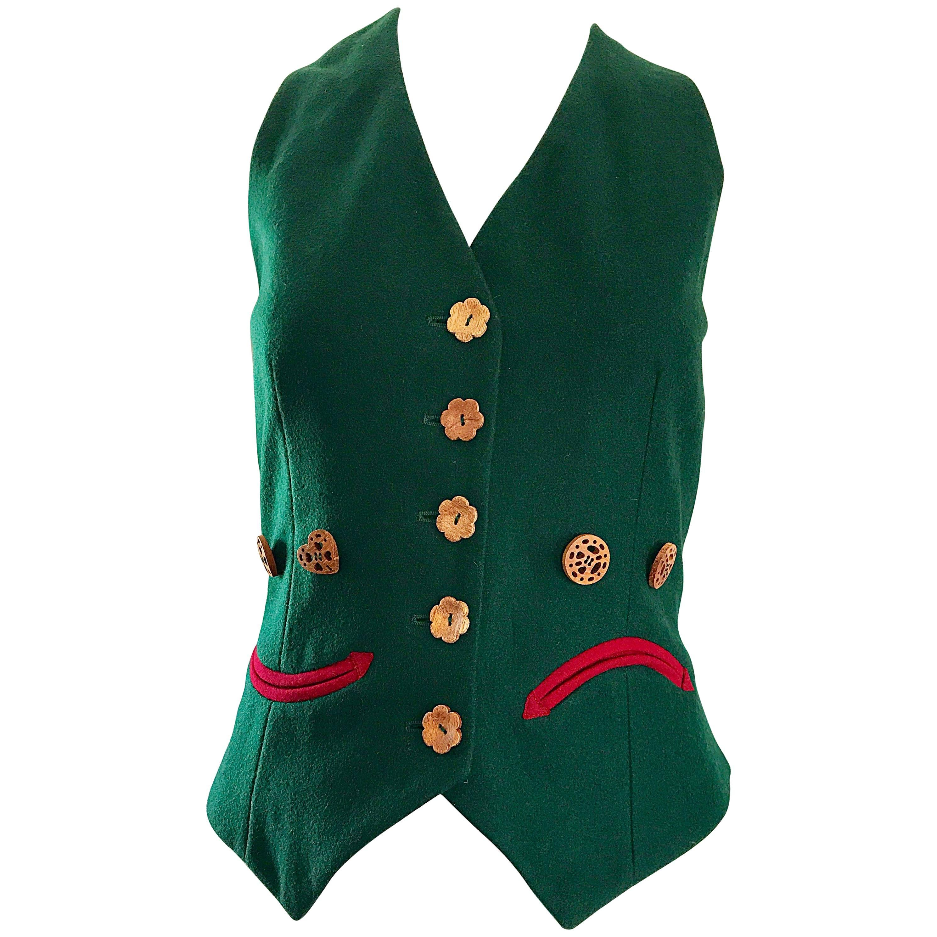 1990s Moschino Cheap & Chic Happy / Sad Hunter Green Carved Wood Waistcoat Vest