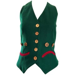 1990s Moschino Cheap & Chic Happy / Sad Hunter Green Carved Wood Waistcoat Vest