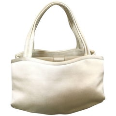 Vintage Manolo Blahnik Ivory White Silk Satin 90s Bridal Evening Bag Purse
