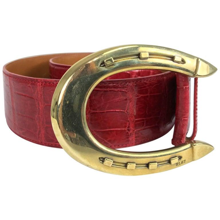 Ralph Lauren red alligator belt with gold horseshoe buckle For Sale
