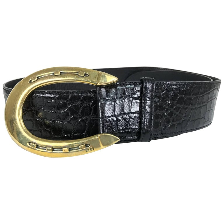 Ralph Lauren glazed black alligator belt with heavy gold horseshoe buckle For Sale