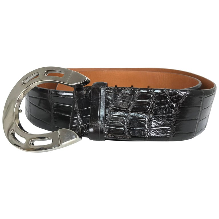 Ralph Lauren dark brown alligator belt with silver horseshoe buckle 1