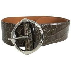 Ralph Lauren wide brown alligator belt with heavy silver buckle M