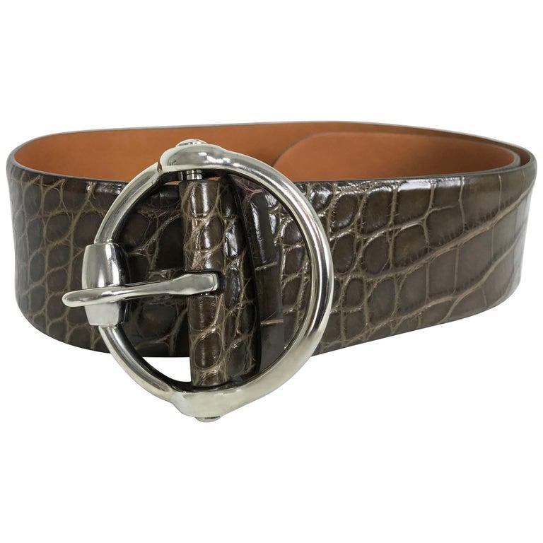 Ralph Lauren wide brown alligator belt with heavy silver buckle M For Sale