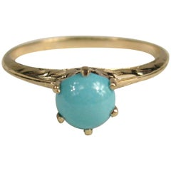 Antique Claw Set Persian Turquoise Gold Ring