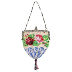 1920's Beaded Handbag with Silver Frame