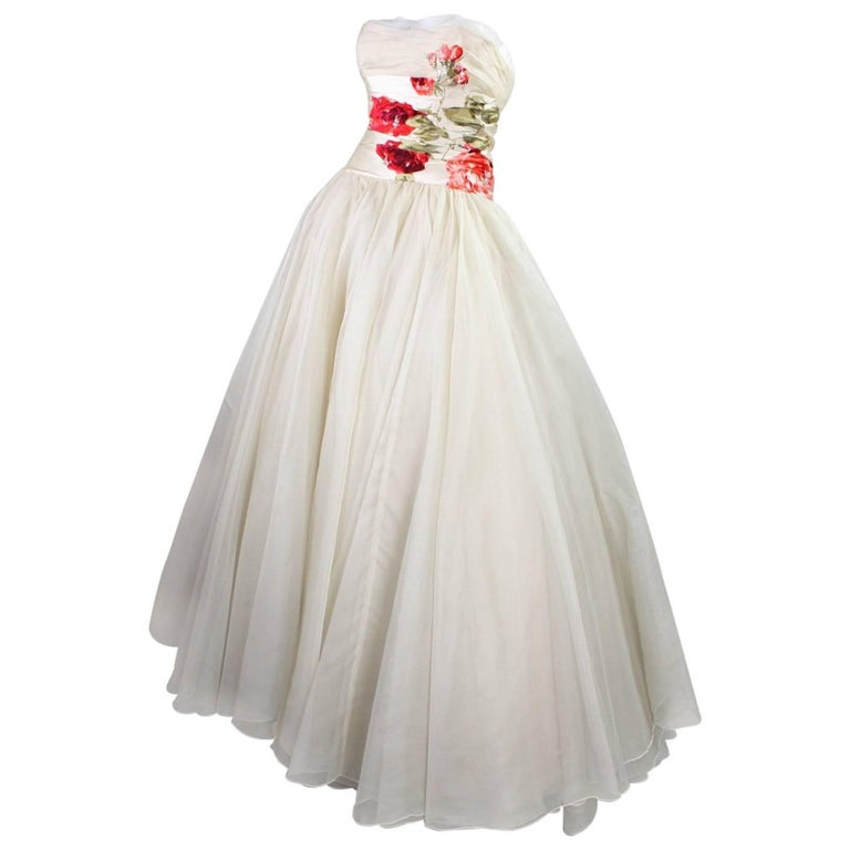 1950's Organza Ball Gown with Floral Detailing