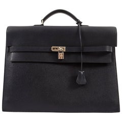Hermes 2006 Kelly Depeche briefcase in navy blue epsom leather, size 38