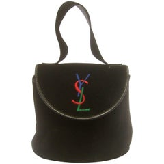 Yves Saint Laurent Chic Black Suede YSL Embroidered Handbag c 1990s