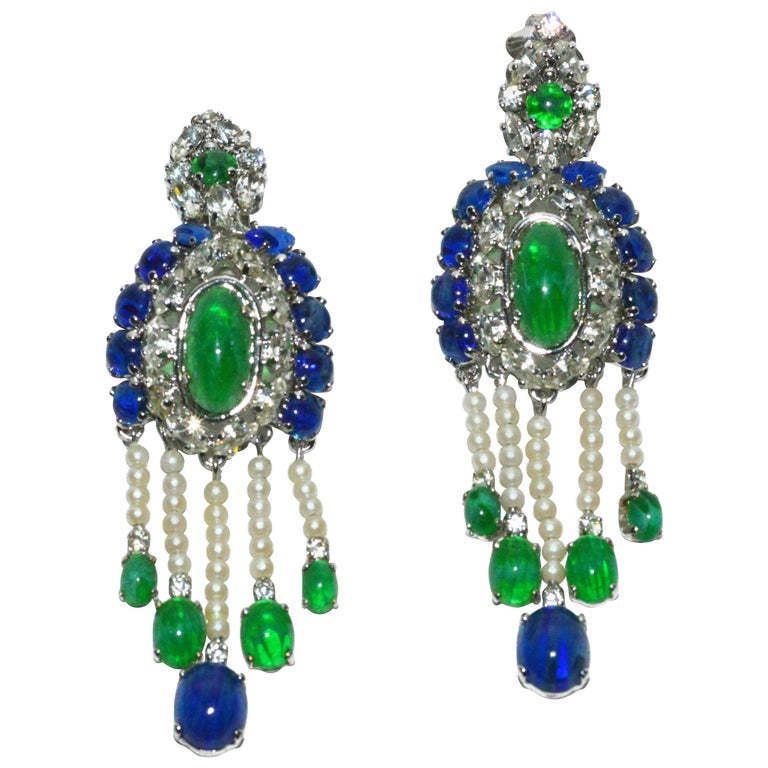 Christian Dior Chandelier Ear Clips 1960s For Sale At 1stdibs