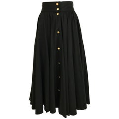 1970s CHANEL Black Cotton Skirt with Chanel Gold Button
