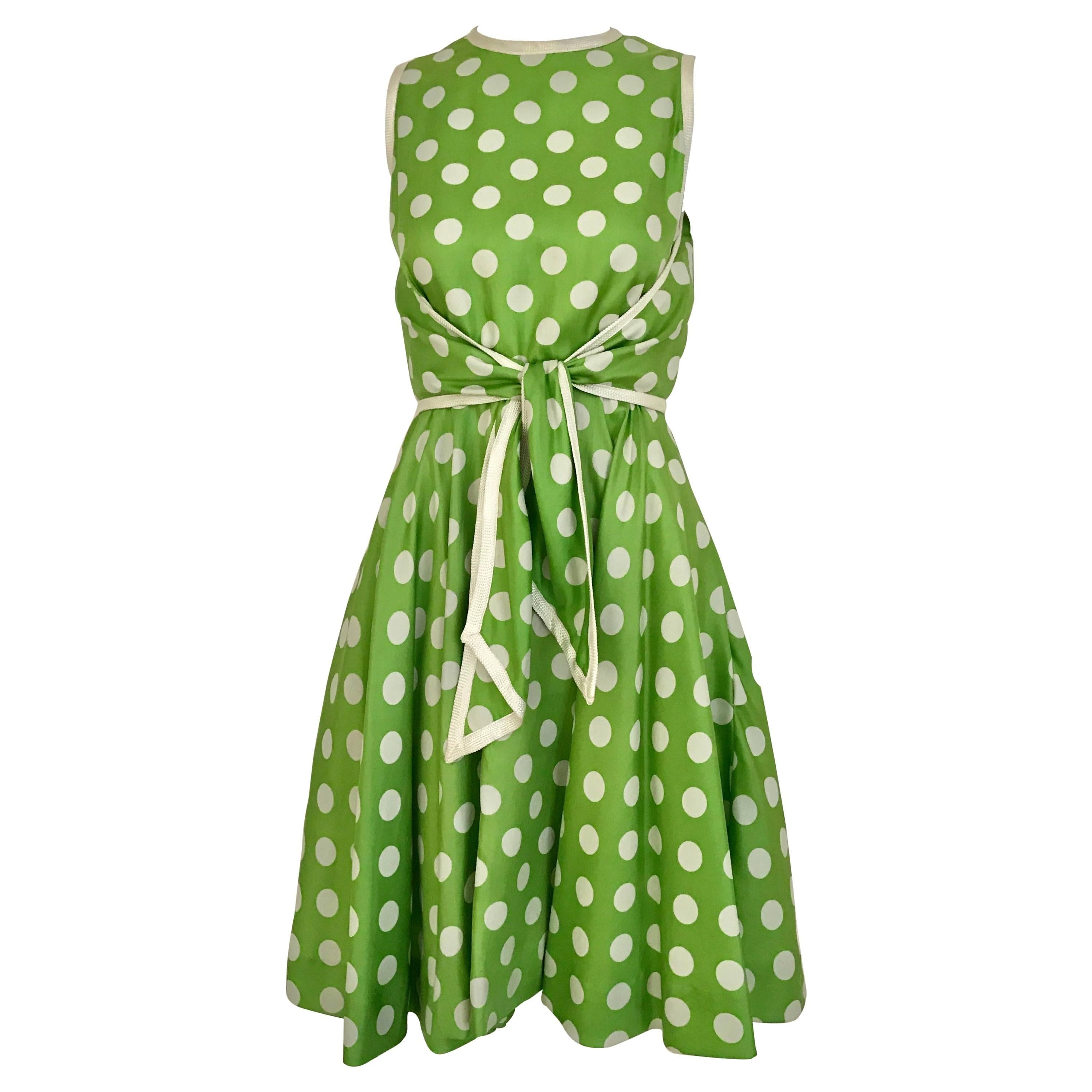 1960s TEAL TRAINA Lime Green and White Polka Dot Sleeveless Dress with Scarf